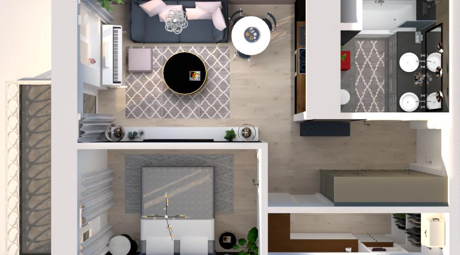Het interieurontwerp van kleine appartement 42m2