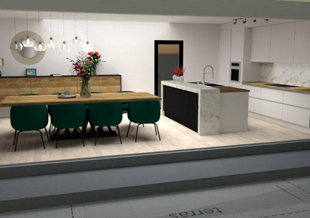 Het interieurontwerp van een luxe keuken, Helmond