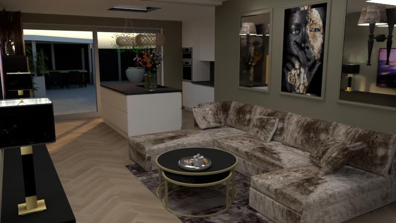 Begane grond uitbouw idee 2D en 3D interieurontwerp, Valkenswaard